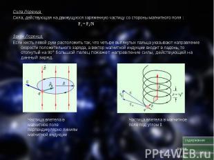 Сила Лоренца Сила Лоренца Сила, действующая на движущуюся заряженную частицу со