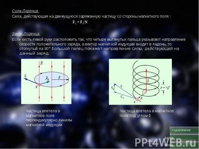Сила Лоренца Сила Лоренца Сила, действующая на движущуюся заряженную частицу со стороны магнитного поля : FЛ = FA/N Закон Лоренца. Если кисть левой руки расположить так, что четыре вытянутых пальца указывают направление скорости положительного заряд…