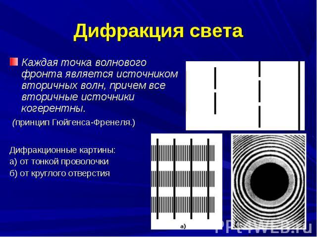 Каждая точка волнового фронта является источником вторичных волн, причем все вторичные источники когерентны. Каждая точка волнового фронта является источником вторичных волн, причем все вторичные источники когерентны. (принцип Гюйгенса-Френеля.)