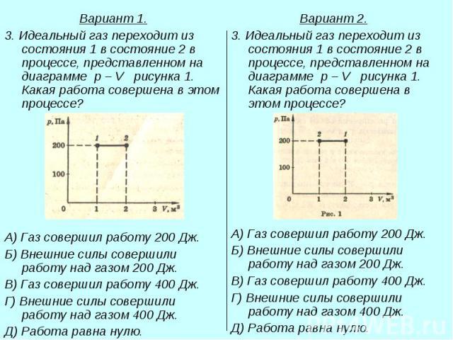 Вариант 1. Вариант 1. 3. Идеальный газ переходит из состояния 1 в состояние 2 в процессе, представленном на диаграмме p – V рисунка 1. Какая работа совершена в этом процессе? А) Газ совершил работу 200 Дж. Б) Внешние силы совершили работу над газом …
