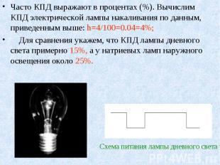 Часто КПД выражают в процентах (%). Вычислим КПД электрической лампы накаливания