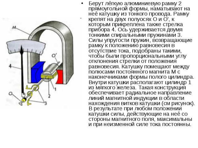 Берут лёгкую алюминиевую рамку 2 прямоугольной формы, наматывают на неё катушку из тонкого провода. Рамку крепят на двух полуосях О и О', к которым прикреплена также стрелка прибора 4. Ось удерживается двумя тонкими спиральными пружинами 3. Силы упр…