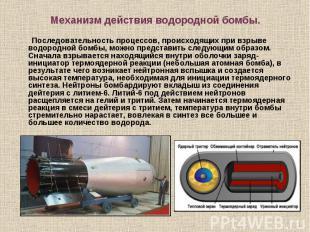 Последовательность процессов, происходящих при взрыве водородной бомбы, можно пр