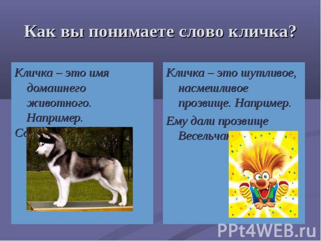 Кличка – это имя домашнего животного. Например. Кличка – это имя домашнего животного. Например. Собака по кличке Шарик.