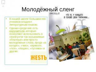 Молодёжный сленг В нашей школе большинство учеников владеют литературным языком.
