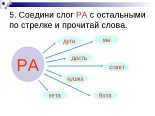 5. Соедини слог РА с остальными по стрелке и прочитай слова.