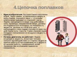 4.Цепочка поплавков Идея изобретателя: Высокая башня наполнена водой. Через шкив