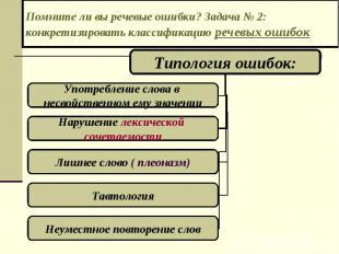 Помните ли вы речевые ошибки? Задача № 2: конкретизировать классификацию речевых