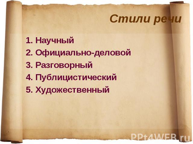 1. Научный 1. Научный 2. Официально-деловой 3. Разговорный 4. Публицистический 5. Художественный