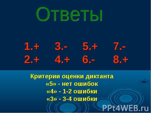 1.+ 3.- 5.+ 7.- 2.+ 4.+ 6.- 8.+