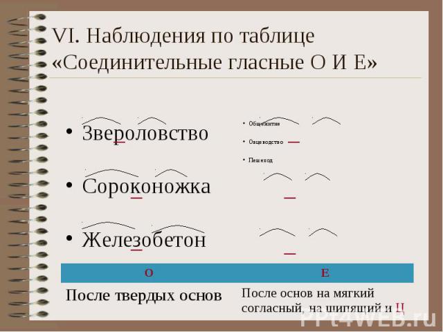 VI. Наблюдения по таблице «Соединительные гласные О И Е» Звероловство Сороконожка Железобетон