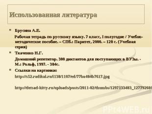Использованная литература Брусина А.Е. Рабочая тетрадь по русскому языку. 7 клас