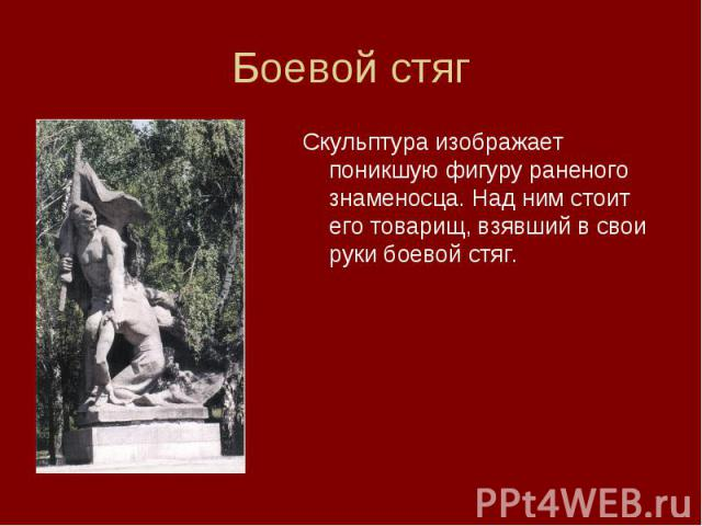 Скульптура изображает поникшую фигуру раненого знаменосца. Над ним стоит его товарищ, взявший в свои руки боевой стяг. Скульптура изображает поникшую фигуру раненого знаменосца. Над ним стоит его товарищ, взявший в свои руки боевой стяг.