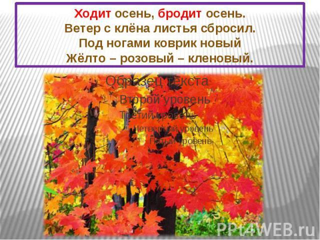 Ходит осень, бродит осень. Ветер с клёна листья сбросил. Под ногами коврик новый Жёлто – розовый – кленовый.