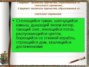 1 вариант : выписать причастия, образованные от глаголов II спряжения, 2 вариант