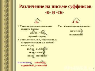 -К- 1. У прилагательных, имеющих краткую форму: узкий – узок дерзкий – дерзок 2.