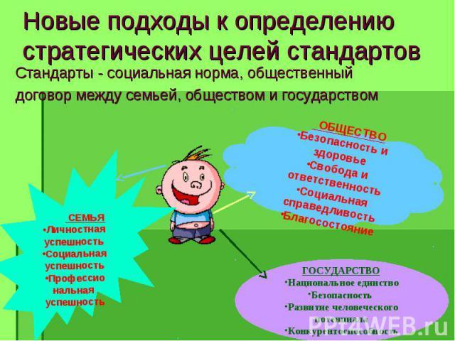 Стандарты - социальная норма, общественный Стандарты - социальная норма, общественный договор между семьей, обществом и государством