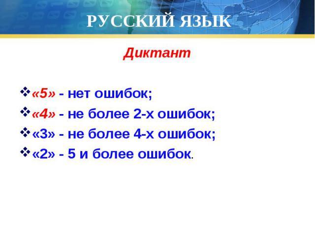 Диктант Диктант «5» - нет ошибок; «4» - не более 2-х ошибок; «3» - не более 4-х ошибок; «2» - 5 и более ошибок.