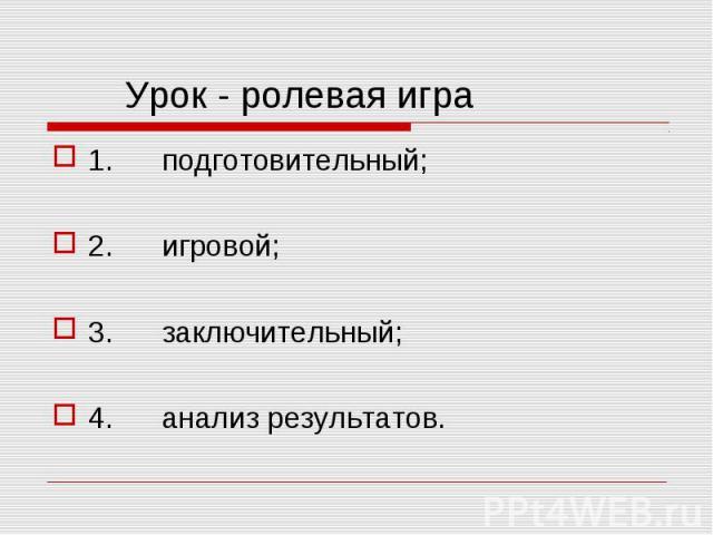 1. подготовительный; 1. подготовительный; 2. игровой; 3. заключительный; 4. анализ результатов.