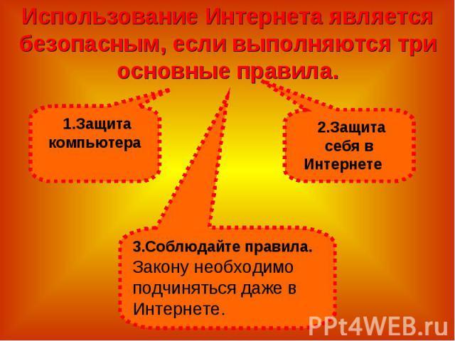 Использование Интернета является безопасным, если выполняются три основные правила.