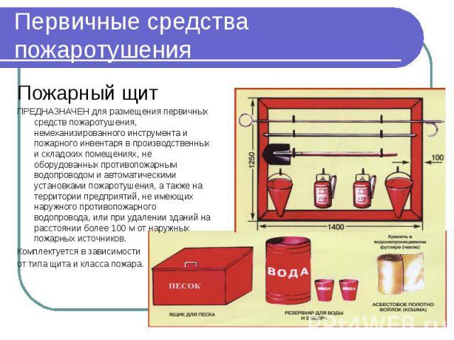 Первичные средства пожаротушения Пожарный щит ПРЕДНАЗНАЧЕН для размещения первичных средств пожаротушения, немеханизированного инструмента и пожарного инвентаря в производственных и складских помещениях, не оборудованных противопожарным водопроводом…