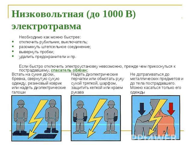 Низковольтная (до 1000 В) электротравма Необходимо как можно быстрее: отключить рубильник, выключатель; разомкнуть штепсельное соединение; вывернуть пробки; удалить предохранители и пр. Если быстро отключить электроустановку невозможно, прежде чем п…