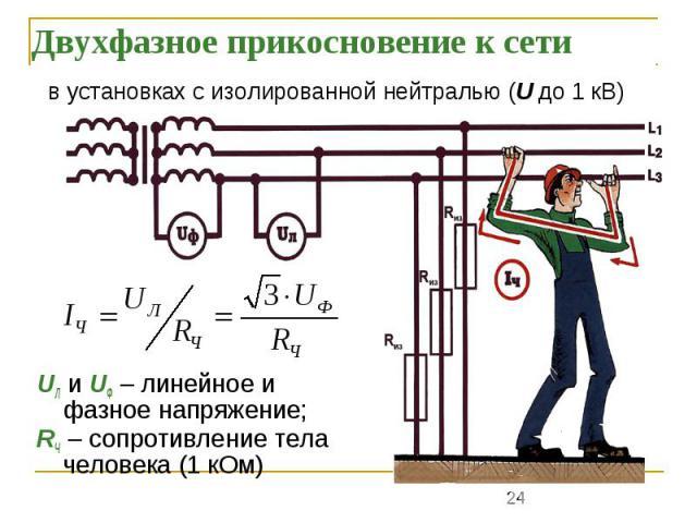 Двухфазное прикосновение к сети UЛ и UФ – линейное и фазное напряжение; RЧ – сопротивление тела человека (1 кОм)