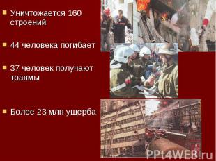 Уничтожается 160 строений Уничтожается 160 строений 44 человека погибает 37 чело