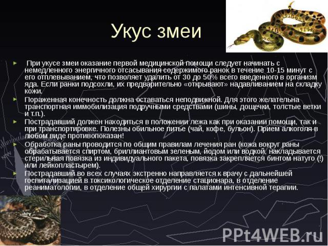 Укус змеи При укусе змеи оказание первой медицинской помощи следует начинать с немедленного энергичного отсасывания содержимого ранок в течение 10-15 минут с его отплевыванием, что позволяет удалить от 30 до 50% всего введенного в организм яда. Если…
