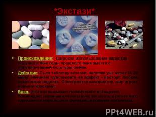 Происхождение: Широкое использование наркотик получил в 90-е годы прошлого века