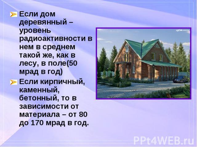 Если дом деревянный – уровень радиоактивности в нем в среднем такой же, как в лесу, в поле(50 мрад в год) Если дом деревянный – уровень радиоактивности в нем в среднем такой же, как в лесу, в поле(50 мрад в год) Если кирпичный, каменный, бетонный, т…