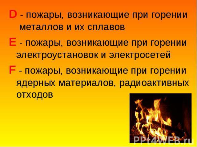 D - пожары, возникающие при горении металлов и их сплавов D - пожары, возникающие при горении металлов и их сплавов E - пожары, возникающие при горении электроустановок и электросетей F - пожары, возникающие при горении ядерных материалов, радиоакти…