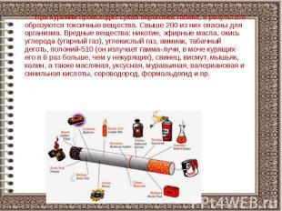 При курении происходит сухая перегонка табака, в результате образуются токсичные