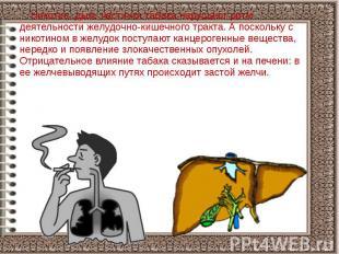 Никотин, дым, частички табака нарушают ритм деятельности желудочно-кишечного тра