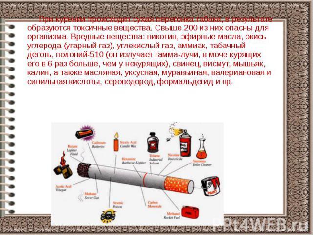 При курении происходит сухая перегонка табака, в результате образуются токсичные вещества. Свыше 200 из них опасны для организма. Вредные вещества: никотин, эфирные масла, окись углерода (угарный газ), углекислый газ, аммиак, табачный деготь, полони…