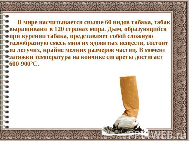 В мире насчитывается свыше 60 видов табака, табак выращивают в 120 странах мира. Дым, образующийся при курении табака, представляет собой сложную газообразную смесь многих ядовитых веществ, состоит из летучих, крайне мелких размеров частиц. В момент…