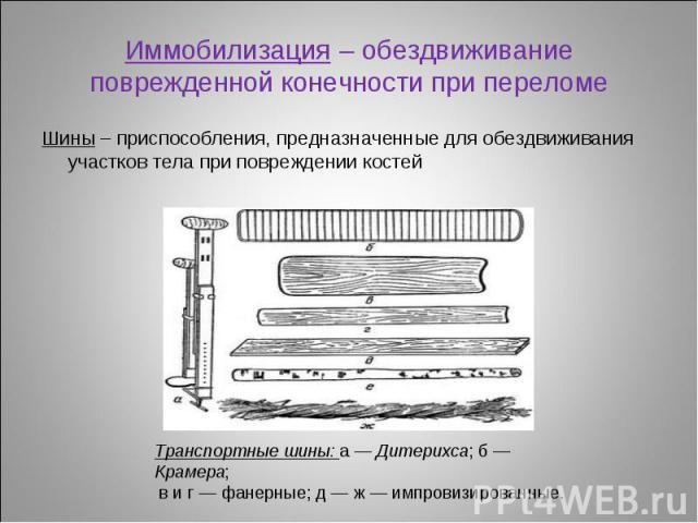 Шины – приспособления, предназначенные для обездвиживания участков тела при повреждении костей Шины – приспособления, предназначенные для обездвиживания участков тела при повреждении костей