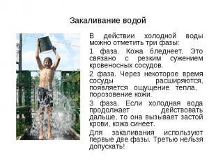 В действии холодной воды можно отметить три фазы: В действии холодной воды можно