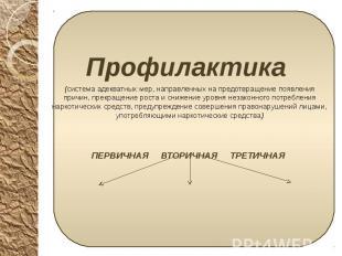 Профилактика Профилактика (система адекватных мер, направленных на предотвращени