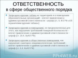Запрещено курение табака на территориях и в помещениях образовательных организац