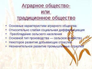 Аграрное общество- или традиционное общество Основные характеристики аграрного о