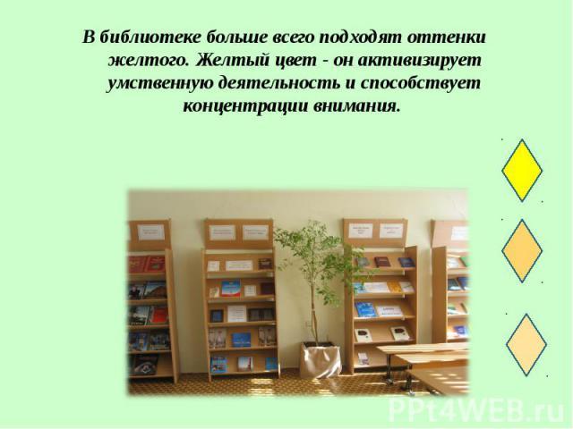 В библиотеке больше всего подходят оттенки желтого. Желтый цвет - он активизирует умственную деятельность и способствует концентрации внимания. В библиотеке больше всего подходят оттенки желтого. Желтый цвет - он активизирует умственную деятельность…