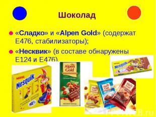 Шоколад «Сладко» и «Alpen Gold» (содержат Е476, стабилизаторы); «Несквик» (в сос