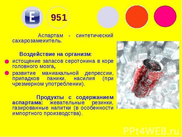 951 Аспартам - синтетический сахарозамеиитель. Воздействие на организм: истощение запасов серотонина в коре головного мозга, развитие маниакальной депрессии, припадков паники, насилия (при чрезмерном употреблении). Продукты с содержанием аспартама: …