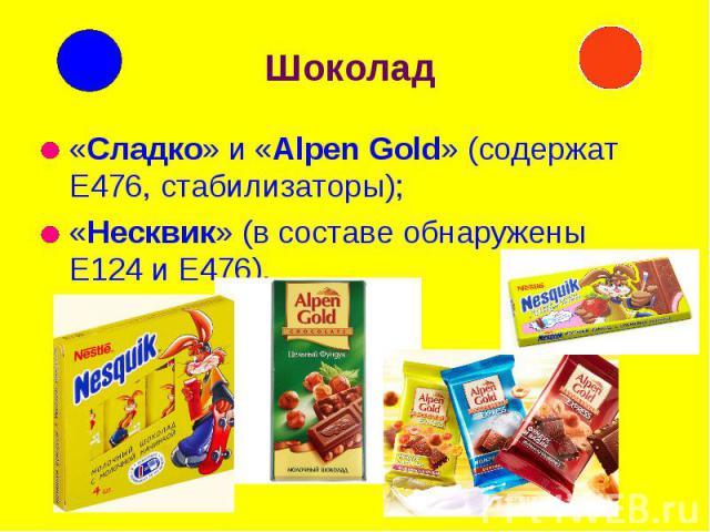 Шоколад «Сладко» и «Alpen Gold» (содержат Е476, стабилизаторы); «Несквик» (в составе обнаружены Е124 и Е476).