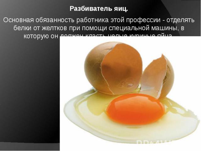 Разбиватель яиц. Основная обязанность работника этой профессии - отделять белки от желтков при помощи специальной машины, в которую он должен класть целые куриные яйца.