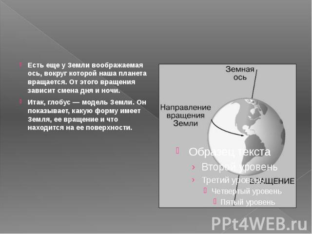 Есть еще у Земли воображаемая ось, вокруг которой наша планета вращается. От этого вращения зависит смена дня и ночи. Итак, глобус — модель Земли. Он показывает, какую форму имеет Земля, ее вращение и что находится на ее поверхности.