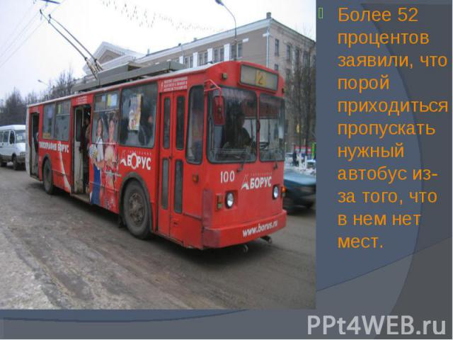 Более 52 процентов заявили, что порой приходиться пропускать нужный автобус из-за того, что в нем нет мест. Более 52 процентов заявили, что порой приходиться пропускать нужный автобус из-за того, что в нем нет мест.