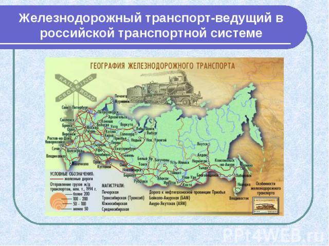 Железнодорожный транспорт-ведущий в российской транспортной системе