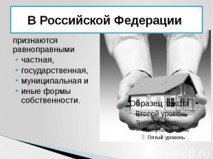В Российской Федерации признаются равноправными частная, государственная, муници